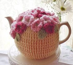 Bright Yellow Pink Posies Crochet Tea Cozy by Sunshine Cottage. Make your teapot happy with this cheerful cozy!