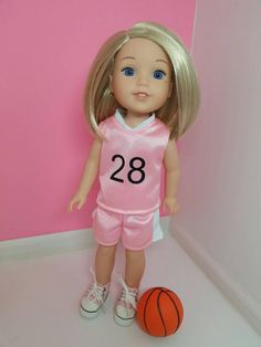 RESERVED Cindy Basketball Uniform fits 14.5 inch dolls like Wellie Wishers, Pink Uniform, Sports, Doll Clothes, Jersey, Handmade