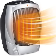 Electric Space Heater for Indoor Use - 1500W Space Heaters for Bedroom, Ceramic Space Heater for Office with Adjustable Thermostat Overheat Protection and Carrying Handle ETL Listed, 750W/1500W (Silver) Best Space Heater, Electric, Home Appliances, Handle, Indoor, Ceramics, Bedroom, Silver, House Appliances