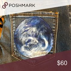 Free People jeans: Earth Free People skinny ankle jeans hand painted by Assemblage Designs.  Unique and awesome upcycled fashion!  Inseam 26 inches. Free People Jeans Ankle & Cropped