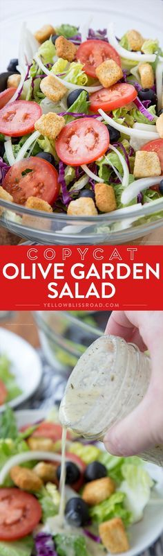 Olive Garden Salad Dressing Copycat Copycat Olive Garden Salad – Crisp lettuce, olives, tomatoes and croutons coated in a creamy, cheesy vinaigrette that is nearly identical to Olive Garden Dressing! Olive Garden Dressing, Olive Garden Salad, Olive Garden Recipes, Olive Salad, Healthy Salads, Healthy Eating, Healthy Recipes, Easy Recipes, Clean Eating