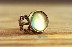 Filigree moonglow ring adjustable ring statement ring by SomeMagic