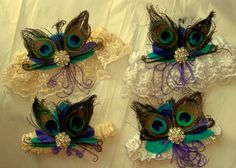 WEDDING GARTER SET Lace Bridal Garter Peacock by kathyjohnson3