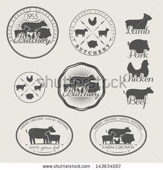 A set of labels for butchery. Icons of beef, pork, lamb and chicken by Verbena, via Shutterstock