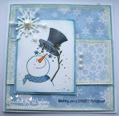 Designed by Lynsey Christmas 2015, Christmas Snowman, Christmas Cards, Christmas Ideas, Snowflake Cards, Snowflakes, Snowman Cards, Paper Art, Stamps