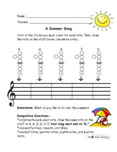 Summer Themed Guided Recorder Composition for Elementary Music- BAGDE, fun!