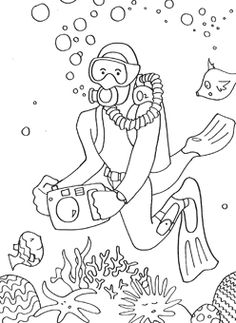 free coloring pages - the Boy has a thing for Scuba guys right now.