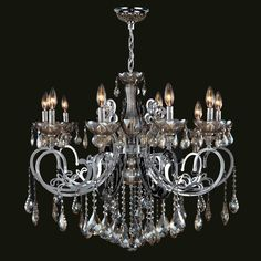 "Worldwide Lighting W83109C36-GT Kronos 10 Light 1 Tier 36"" Chrome Chandelier with Gold Crystals"