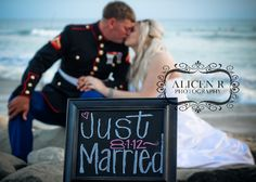 """My Pix.  www.AlicenRphotography.com Marine Corps Wedding Picture on Beach Just Married Camp Pendleton, Ca """"Just Married"""""""
