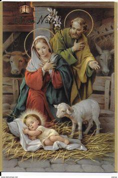 The Holy Family Rajan Christmas Nativity Scene, Christmas Scenes, Christmas Pictures, Christmas Diy, Vintage Holy Cards, Vintage Christmas Cards, Religious Pictures, Jesus Pictures, Catholic Art