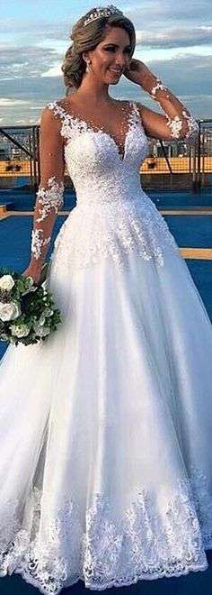 Fantastic Tulle Jewel Neckline A-line Wedding Dress With Lace Appliques & Beadings