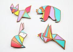 Geometric animal brooches ( 4 Designs)   Love Ikandi