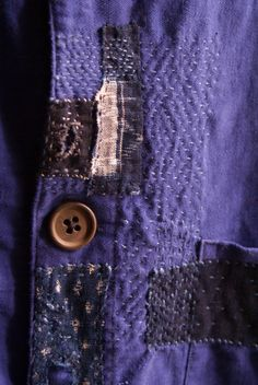 upcycled vintage french work jacket, in a blue-purplish colour , hand darned and patched with old indigo Japanese cottons, linen appliqués, i have worked this jacket inspired by boro, sashiko and kantha works,folk textiles... shoulders : 47 cm approx, 18,50 inch height : 67-68 cm, 26,7