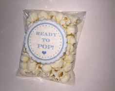 Ready to Pop Stickers For Baby Shower Popcorn Favor Stickers, Blue Baby Boy Popcorn Favor Label Stickers