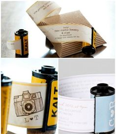 Some great ideas for wedding invitations including diy camera film strip wedding invitation