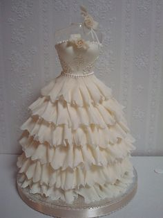 Beautiful #White #Ruffle #Dress #Cake! Stunning! We love and had to share! Great #CakeDecorating!