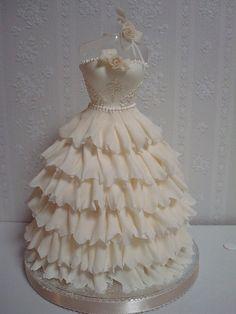 Beautiful #White #Ruffle #Dress #Cake! Stunning! We love and had to share! Great #CakeDecorating!