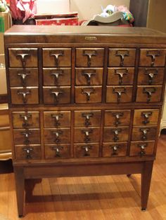 Restored Card Catalog- would love one of these and use it to display my old books complete with a vintage oil lamp. Bar Furniture, Antique Furniture, Music Furniture, Craft Storage, Seed Storage, Jewelry Storage, Apothecary Cabinet, Vintage Library, Antique Cabinets