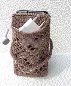 Crocheted phone holder for desk with pouch is nice gift for image 3 Mobiles En Crochet, Crochet Mobile, Iphone Holder, Iphone Stand, Support Iphone, Crochet Phone Cases, Shoulder Jewelry, Wedding Gloves, Lace Gloves