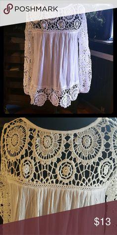 Mimi white flowy shirt Gauzy lacy and flowy. Perfect for spring. mimi Tops Tunics