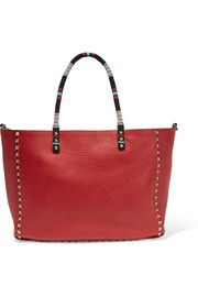 VALENTINO  The Rockstud medium embellished reversible textured-leather tote $4,495