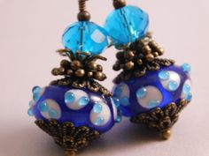 Royal Blue with Raised Turquoise Blue White Dots Murano Earrings * Lampwork Bead Dangle Glass Earrings * Blue Glass Jewelry * Glass Drops *