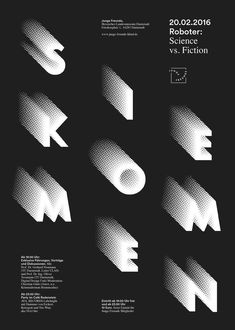 Category: Type Based Design- This is a science vs fiction typographic poster. This helps create an interesting design with just characters by making the letters look like they are moving. Poster Layout, Typo Poster, Typographic Poster, Design Fonte, Graphisches Design, Design Studio, Book Design, Design Interior, Herb Lubalin