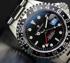 Steinhart GMT-Ocean One Black - An excellent Rolex GMT Master II Homage. At well under the price of a Rolex and not digital but having a multiple time zone function, this is all the watch I would ever need. Except for camping. Dream Watches, Men's Watches, Sport Watches, Luxury Watches, Cool Watches, Fashion Watches, Watches For Men, Wrist Watches, Fashion Men