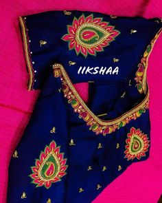 Customized Simple Aari Blouse from iikshaa designers for client Priya. Ping us on 8428524818 to book an appointment 🙂 Cutwork Blouse Designs, Wedding Saree Blouse Designs, Simple Blouse Designs, Blouse Neck Designs, Beautiful Dress Designs, Hand Work Blouse Design, Neckline Designs, Sleeves Designs For Dresses, Designer Blouse Patterns