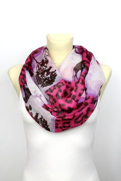 Pink Boho Scarf - Leopard Infinity Scarf - Printed Infinity Scarf - Unique Fabric Scarf - Women Fashion Accessories - gift Ideas for her