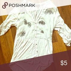 Blouse White rayon cotton blouse with pretty bead work solitaire Tops Blouses