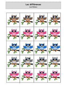 Sur le thème des hiboux : fiche d'activité de type association (différences) pour enfant de niveau maternelle.