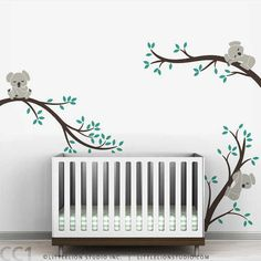 Koala Baby Nursery Wall Decal Koala Tree Wall Decal for Sleepy Mood