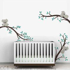 Koala Baby Nursery Wall Decal Koala Tree Wall Decal for Sleepy Mood