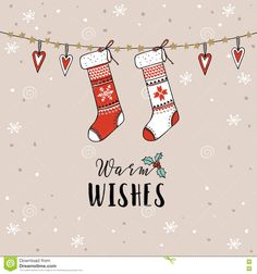 Vintage Christmas, New Year Greeting Card, Invitation. Traditional Decoration, Hanging Knitted Socks, Stockings, Hearts, Snow. - Download From Over 62 Million High Quality Stock Photos, Images, Vectors. Sign up for FREE today. Image: 78945340