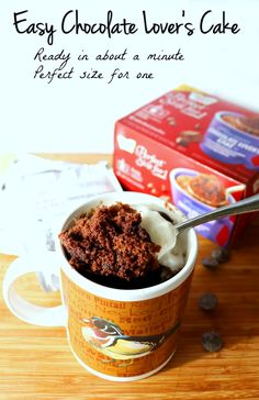 Want a warm delicious treat just for you that is ready in about a minute? Try Chocolate Lover's Cake made in a mug with only some water. How perfect is that?!This Cake In A Cup is warm, delicious, and perfect for a simple treat you can enjoy whenever you like! AD