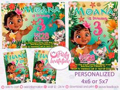 Baby Moana Invitation And Free Thank You Tags BirthdayBaby Party Supplies M