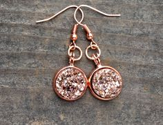 Rose Gold Druzy earrings, drusy,  rose gold, rose gold druzy,  Boho Jewelry,  Faux Druzy by VeonixMineraux on Etsy