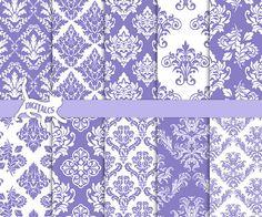 Purple damask digital paper Printable paper download DIY scrapbook paper purple by DigitalCS
