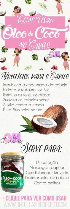 Óleo de Coco no Cabelo: Como usar, benefícios e por que é tão bom? O óleo de coco restaura, hidrata e nutre os cabelos - Coconut Oil Benefits for Hair and How to Use It - #LowPoo #NoPoo #Umectação #Hotoiltreatment Umectação capilar com óleo de coco (absorvido pelo fio de cabelo) ohlollas