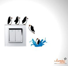 Cute Penguins Going For A Dive Wall Decal wandgestaltung, Simple Wall Paintings, Creative Wall Painting, Wall Painting Decor, Diy Wall Art, Diy Wall Decor, Vinyl Decor, Painting Quotes, Diy Wand, Wall Drawing