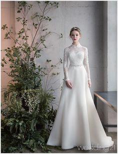 Long Sleeve Sashe Lace Satin Winter Wedding Gown – - Wedding Dress With Sleeves Muslimah Wedding Dress, Muslim Wedding Dresses, Elegant Wedding Dress, Dream Wedding Dresses, Bridal Dresses, Lace Wedding, Gown Wedding, Party Wedding, Trendy Wedding