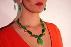 Kelly Green Chunky Pendant Necklace with Amber Accents Beaded Necklace, Pendant Necklace, Handmade Beaded Jewelry, Kelly Green, Wearable Art, Amber, Chokers, Turquoise, Beads