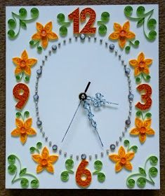 quilling falióra sárga virágokkal / quilled wall clock with yellow flowers