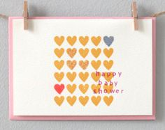 Baby shower card - Happy Baby Shower hearts