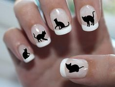 Top 32 Chic Black Cat Manicure Nails To Try Pretty And Modern Black Cat Nail Art Designs Ideas Cat appearance lovely and cute. Cat Nail Art, Cat Nails, Nail Decals, Nail Stickers, Cat Lover Gifts, Cat Gifts, Cat Lovers, Nail Swag, Black Nails