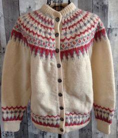 Vintage Wool Fair Isle Cardigan Sweater Top Ivory Pink Blue Size Medium #Unbranded #Cardigan