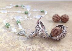 "34"" Opalite glass & green crystals  ~ Diffuser necklace, essential oils pendant, Bali pendant diffuser"