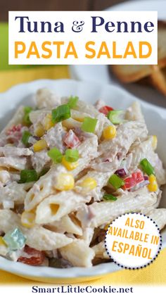 #ad Tuna and Penne Pasta Salad ~ Creamy, delicious and ready in only 20 minutes. This is definitely one of the easiest and most delicious pasta salad dishes I've ever tasted. I'm not exaggerating. This Tuna and Penne Pasta Salad has formed part of my big family dinners ever since I can remember. Certainly, it was one of the first recipes I've ever learn to make. | @mydominicankitchen #memorialdaypastasaladrecipe #howtomakepastasalad Penne Pasta Salads, Macaroni Salad, Easy Salad Recipes, Dinner Recipes, Salad Dishes, Eating Vegetables, Latest Recipe, Side Salad, Healthy Breakfast Recipes