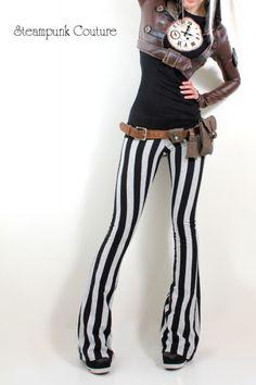 "82. Black Striped pants, Black shirt, Brown vest. ""Steampunkish"" --------------- Key: Steampunk, Black, Outfits, Clothes"